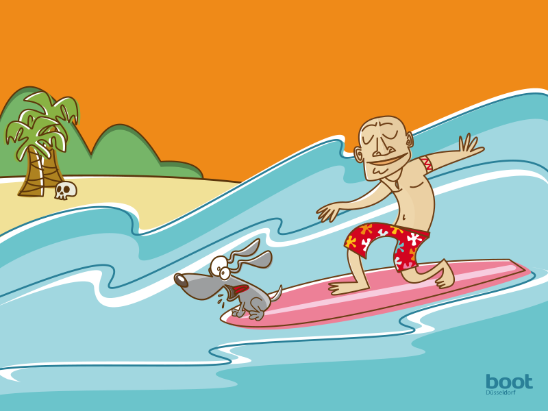 Illustration Messedesign Surfer